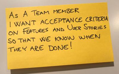 Acceptance criteria in Agile